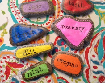 Herb Garden Markers - Hand Painted River Rocks - Set of 7