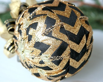 Quilted Ornament Ball-Black-Gold-Chevron-Midnight Chic