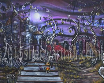 Haunted House Night Landscape With Spine Trees Print Of Original Artwork Black Matted