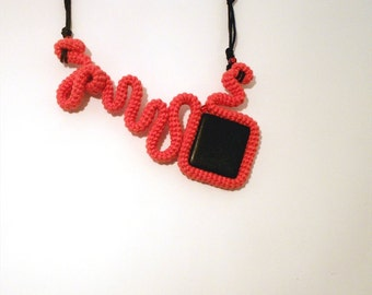 Modern Crochet Tube Statement Necklace, Coral Red and Black Curved Form pendant