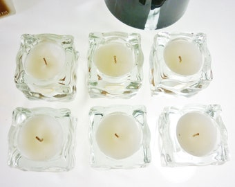 Crystal Rock Ice Votives Filled Vanilla Scented Candles Box Set 6