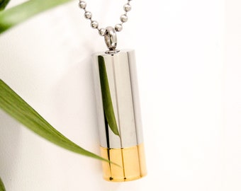 Two Tone Shiny Shotgun Shell Cremation Urn Necklace || Cremation Ashes Keepsake || Chain Choice