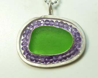 Lime Green Seaglass and Tanzanite Pendant- Ready to ship