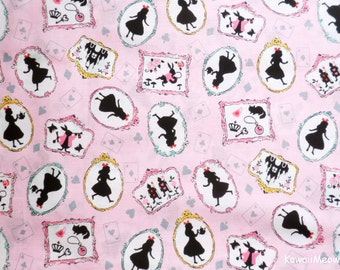 Japanese Fabric - Alice in Wonderland on Pink - Fat Quarter (nu160201)