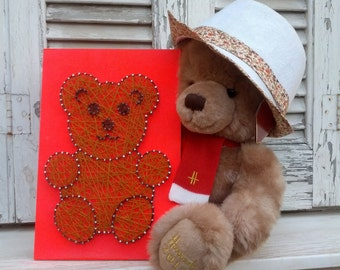 Handmade String Art, Nail Art, Teddy Bear Sign, Wall Decoration