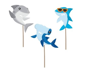 Cupcake Topper, shark Birthday cupcake topper, shark picks, shark cake topper, pool party, pool party decor, pool party birthday