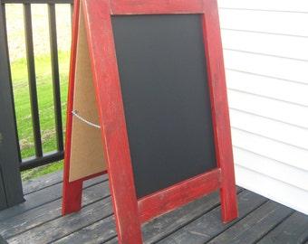 Ready to ship Rustic sandwich chalkboard, apple red distressed sidewalk chalkboard weathered A frame easel outdoor chalkboard chalk board