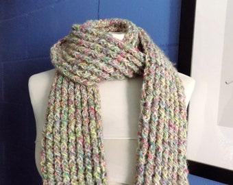 Crochet Scarf, Multi Coloured Chunky Crochet Scarf, Ribbed Scarf.