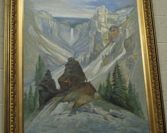 """V10625E: Oil On Canvas """"Grand Canyon Of Yellowstone Park Of Moran"""""""