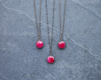 Gunmetal Ruby Necklace /  Ruby Pendant /  Ruby Jewelry / Ruby Pendant / Gunmetal Ruby Jewelry