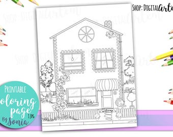 Adult Coloring Pages - House with garden colouring page, book -Coloring Pages for Adults -Digital illustration -Instant Download Printable -