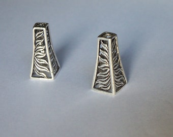 2 Solid Sterling Silver One of its kind multi strands pendant tower end cap cone