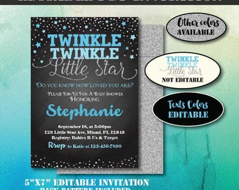Silver Twinkle Twinkle Little Star Baby Shower Invitation-Editable Baby Shower Invite-Printable Invitation-Twinkle Little Star Invitation
