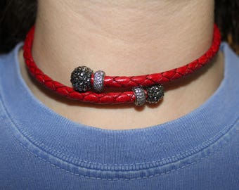 Red Leather Wrap Necklace