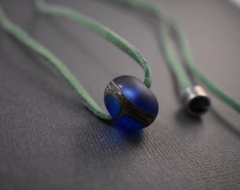 Necklace - Indigo blown frosted glass bead pendant