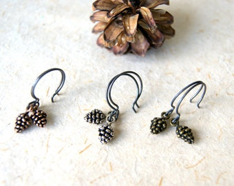Pine Cone Earrings - Antiqued Silver, Brass or Copper Pinecones