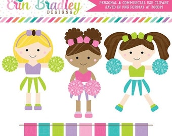 80% OFF SALE Cheerleaders Clipart Set Personal & Commercial Use Clip Art Graphics Instant Download