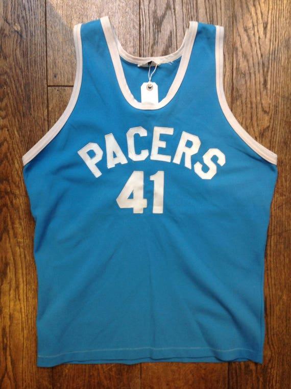 "Vintage 1980s 80s turquoise blue white track running athletics sportswear basketball vest singlet 42"" chest"