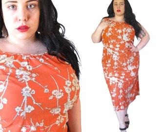 Vintage 1960's Nightgown l Orange Floral Polyester Dress l Size 1X l Vintage Dress