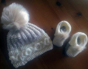 Knitted Baby Hat and Booties Set Hand Knitted Neutrals Baby Soft Wool Gift Wrapped Luxury