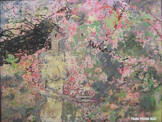 "Lost in the Cherry Blossoms 51x39"" oil on canvas, thick layers, wall decor, original painting by Nguyen Ly Phuong Ngoc"