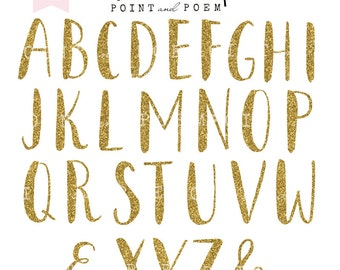 Alphabet Clip Art, Gold Glitter Letters cliparts, Hand Painted Glitter letters, scrapbooking - Commercial Use