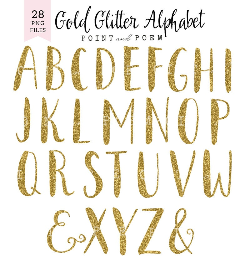 Alphabet Clip Art Gold Glitter Letters Cliparts Hand Painted