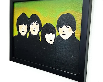 Retro in Green Framed Wall Art Pop Art Canvas Gifts Mixed Media Paint Painting Poster Print Fanart Gift Rock n Roll Home Decor