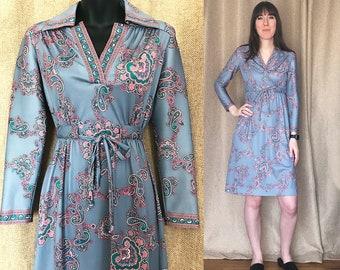 Vintage 1970's Hal Ferman Paisley Dress