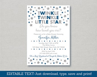 Twinkle Twinkle Little Star Baby Shower Invitation / Silver Glitter Star / Navy & Silver / Baby Boy / INSTANT DOWNLOAD Editable PDF A149