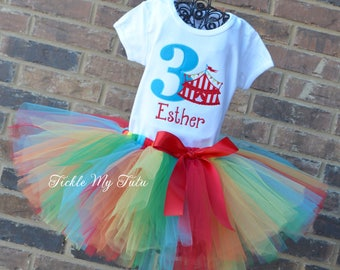 Under the Big Top Circus Tent Birthday Number Carnival Themed Birthday Tutu Outfit-Carnival Party Outfit-Rainbow Circus Party Outfit