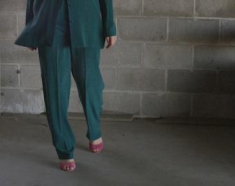 vintage silk blouse / emerald green silk suit / minimal suit set / us 6 / s / m / l