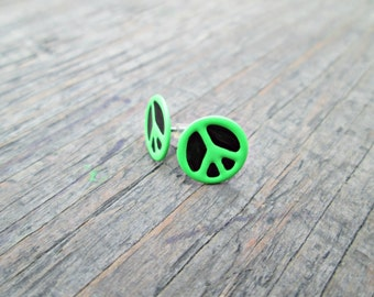 Neon Green Peace Sign Earrings, Peace Sign Studs, Bright Green Peace Earrings, Peace Symbol Earrings, Hippie Earrings, Teen Jewelry