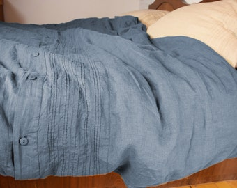 100% linen hemstitched duvet cover. BLUE SHADOW bedding collection. Blue-grey/gray. Single, twin, queen, king or custom size. Stone washed.