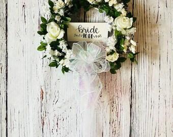 Wedding Wreath, Wedding Decor, White Rose Wedding Wreath, Bridal Wreath, Bridal Shower Wreath, Bridal Decor, Rustic Wedding, Floral Wreath