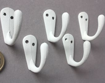 10 mini wall hooks white rustic, small bathrobe hook classic, towel hook, diy coat rack, home decor white colored, coat hooks