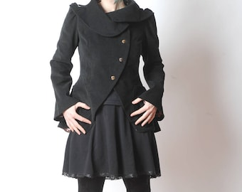 Black Statement Jacket - Bustle Jacket in black corduroy - Assymetrical couture Coat, with ruffled back, sz UK 10 or custom, MALAM