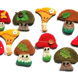 Mushrooms |  Mushrooms Pins | Mushrooms Brooches | Felt Mushrooms | Mushroom Accessory | Fairy Tale Mushroom | Tiny Mushroom Pin | Forest