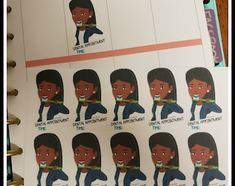 African American Woman Dental Appointment Time Planner Stickers