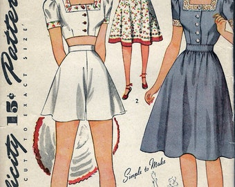 """Vintage 1942 WWII Simplicity 4321 Dress Or Three Piece Playsuit Sewing Pattern Size 16 Bust 34"""" PRECUT UNSED"""