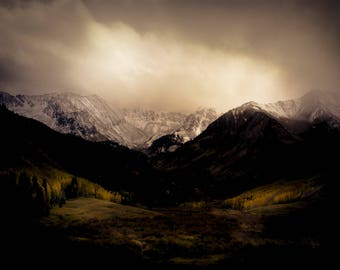 Mountains, peaks, fall aspen trees, snowy mountains, Castle Creek Valley, aspen tree decor, rustic home decor,  cabin decor, Colorado art