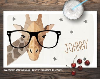 GIRAFFE IN GLASSES Personalized Placemat for Kids - Children's Placemat, Personalized Kid's Gift, Fast Shipping - giraffe, hipster, stars