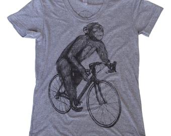 Chimpanzee on a  Bicycle- Womens T Shirt, Ladies Tee, Tri Blend Tee, Handmade graphic tee, sizes s-xL