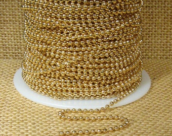 2.0mm Ball Chain - Gold Plated - CH110-GP - Choose Your Length