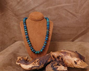 Chrysocolla and Sterling Silver Beaded Necklace