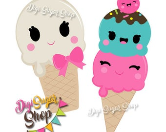 Cute and Happy Ice Cream Buddies! - 2 Clipart images in PNG/Vector format - Background not included but link available - Instant Downalod