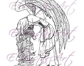 DIGI Stamp Printable Scrapbooking Card Making Crafts Fantasy Gothic Angel Despair Corset Ivy Wings column Digital Stamp Download Coloring