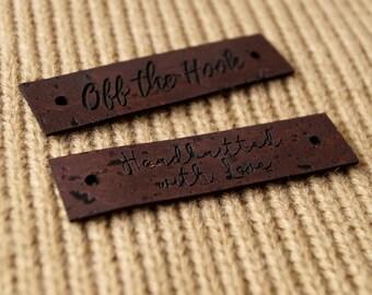 Vegan leather tags, custom knitting tags, vegan cork leather labels, vegan labels, logo branding tags, garment labels, set of 25 pc