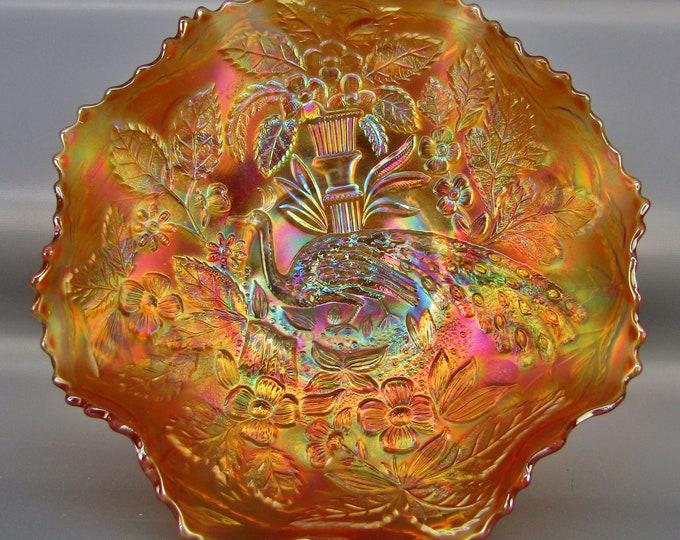 Fenton Carnival Glass - PEACOCK & URN Luscious Marigold Ruffled Bowl