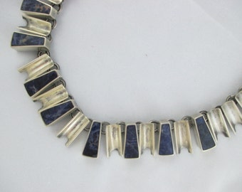 Lapis Lazuli Jewelry Mexican Silver Modern Style Vintage Necklace, 19 inch, SuddenlySeen, Spratling Type Design, Marked, Sterling Silver 925